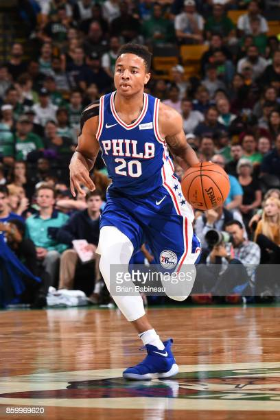 Markelle Fultz of the Philadelphia 76ers handles the ball during the preseason game against the Boston Celtics on October 9 2017 at the TD Garden in...