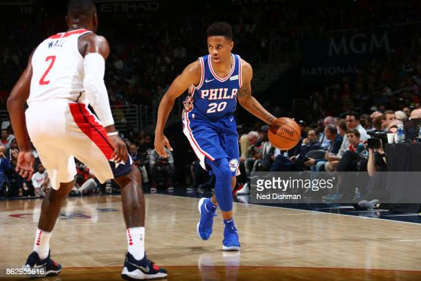 Markelle Fultz of the Philadelphia 76ers handles the ball during the 201718 regular season game against the Washington Wizards on October 18 2017 at...