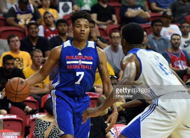 Markelle Fultz of the Philadelphia 76ers is guarded by Damian Jones of the Golden State Warriors during the 2017 Summer League at the Thomas Mack...