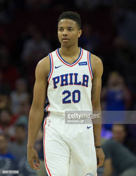 Markelle Fultz of the Philadelphia 76ers looks on against the Memphis Grizzlies in the preseason game at the Wells Fargo Center on October 4 2017 in...