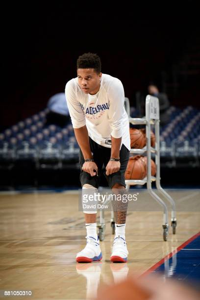 Markelle Fultz of the Philadelphia 76ers looks on before the game against the Orlando Magic at Wells Fargo Center on November 25 2017 in Philadelphia...