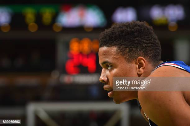 Markelle Fultz of the Philadelphia 76ers looks on during a preseason game against the Boston Celtics on October 9 2017 at TD Garden in Boston...