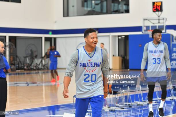 Markelle Fultz of the Philadelphia 76ers looks on during practice on September 27 2017 at the Sixers Training Complex in Camden New Jersey NOTE TO...