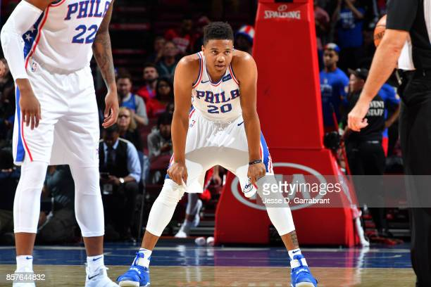 Markelle Fultz of the Philadelphia 76ers looks on during the game against the Memphis Grizzlies during a preseason game on October 4 2017 at Wells...