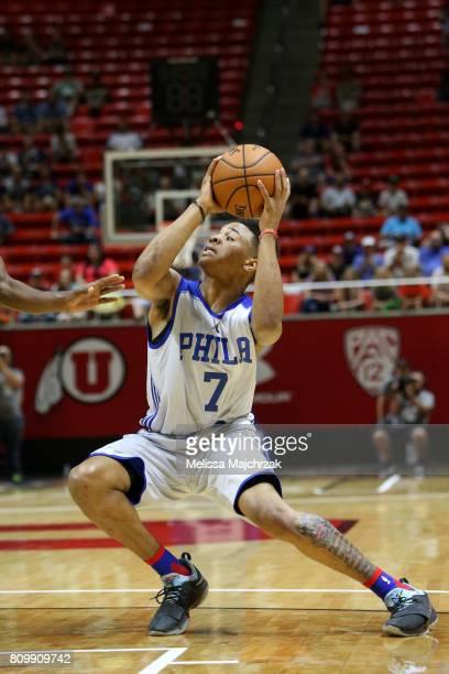 Markelle Fultz of the Philadelphia 76ers looks to pass against the Boston Celtics on July 3 2017 at Jon M Huntsman Center in Salt Lake City Utah NOTE...