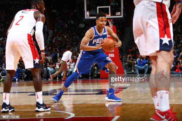 Markelle Fultz of the Philadelphia 76ers looks to pass the ball against the Washington Wizards on October 18 2017 at Capital One Arena in Washington...