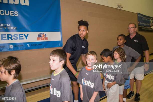 Markelle Fultz of the Philadelphia 76ers participates in a Jr NBA Clinic in New York New York on August 15 2017 NOTE TO USER User expressly...