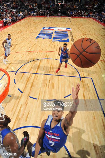Markelle Fultz of the Philadelphia 76ers shoots a lay up during the game against the Golden State Warriors during the 2017 Las Vegas Summer League on...