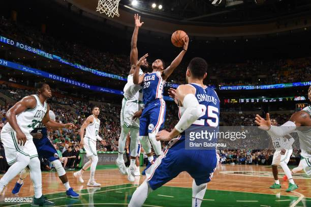Markelle Fultz of the Philadelphia 76ers shoots the ball against the Boston Celtics during the preseason game on October 9 2017 at the TD Garden in...