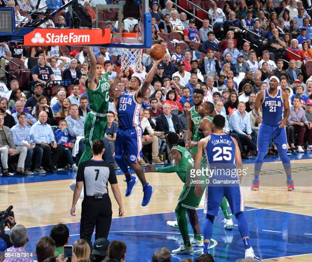 Markelle Fultz of the Philadelphia 76ers shoots the ball against the Boston Celtics during the game on October 20 2017 at Wells Fargo Center in...
