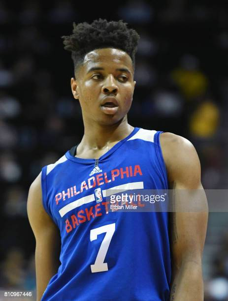 Markelle Fultz of the Philadelphia 76ers stands on the court during a 2017 Summer League game against the Golden State Warriors at the Thomas Mack...