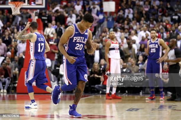 Markelle Fultz of the Philadelphia 76ers walks off the floor against the Washington Wizards in the second half at Capital One Arena on October 18...