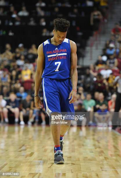 Markelle Fultz of the Philadelphia 76ers walks on the court during a 2017 Summer League game against the Golden State Warriors at the Thomas Mack...