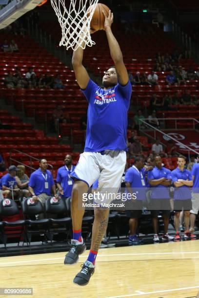 Markelle Fultz of the Philadelphia 76ers warms up against the Boston Celtics on July 3 2017 at Jon M Huntsman Center in Salt Lake City Utah NOTE TO...
