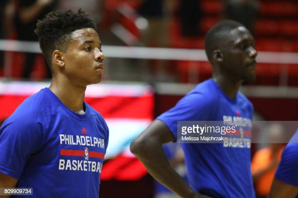 Markelle Fultz of the Philadelphia 76ers warms up against the Boston Celtics on July 3 2017 at Jon M Huntsman Center in Salt Lake City Utah NOTE TO...