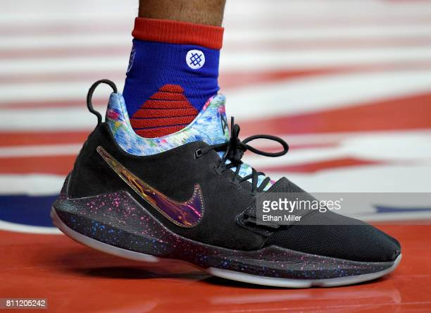Markelle Fultz of the Philadelphia 76ers wears Nike sneakers during a 2017 Summer League game against the Golden State Warriors at the Thomas Mack...