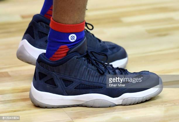 Markelle Fultz of the Philadelphia 76ers wears sneakers on the court before the team's 2017 Summer League game against the San Antonio Spurs at the...