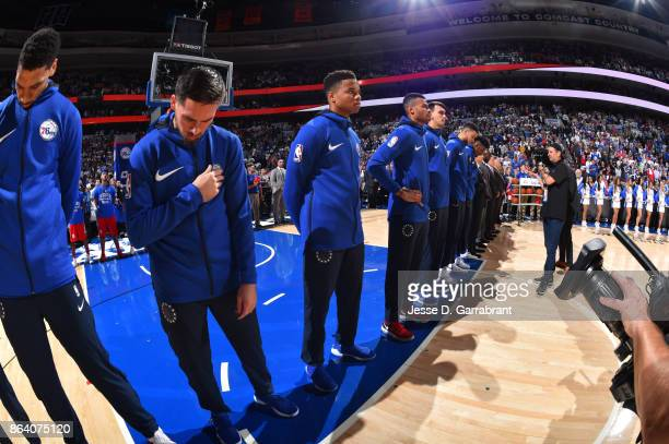 Markelle Fultz of the Philadelphia 76ers with his teammates stand for the National Anthem before the game against the Boston Celtics on October 20...