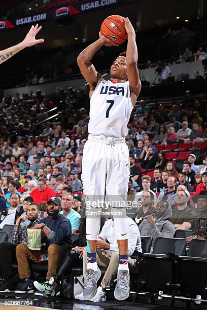 Markelle Fultz of the USA Junior Select Team shoots the ball against the World Select Team during the 2016 Nike Hoop Summit on April 9 2016 at the...