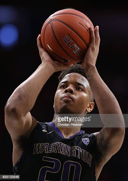 Markelle Fultz of the Washington Huskies attempts a freethrow shot during the second half of the college basketball game against the Arizona Wildcats...