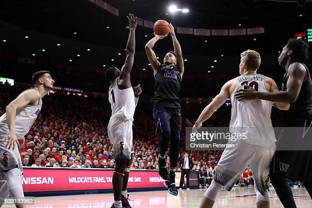 Markelle Fultz of the Washington Huskies attempts a shot during the second half of the college basketball game against the Arizona Wildcats at McKale...