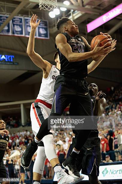 Markelle Fultz of the Washington Huskies controls a rebound against the Gonzaga Bulldogs in the second half at McCarthey Athletic Center on December...