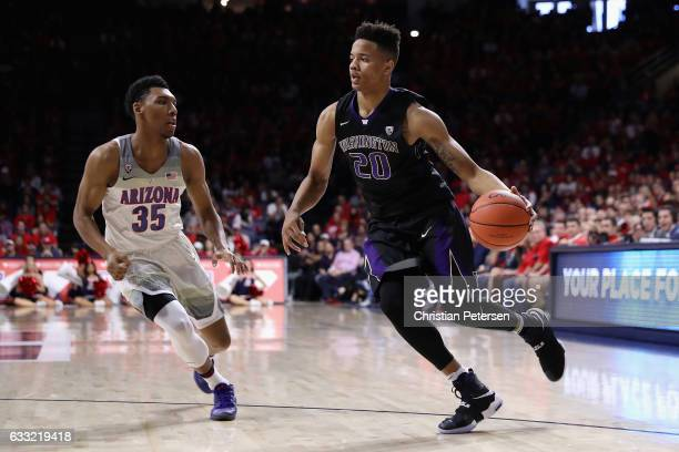 Markelle Fultz of the Washington Huskies drives the ball past Allonzo Trier of the Arizona Wildcats during the second half of the college basketball...