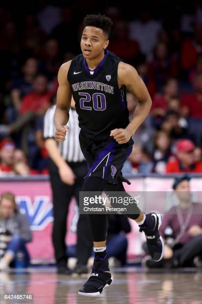 Markelle Fultz of the Washington Huskies in action during the first half of the college basketball game against the Arizona Wildcats at McKale Center...