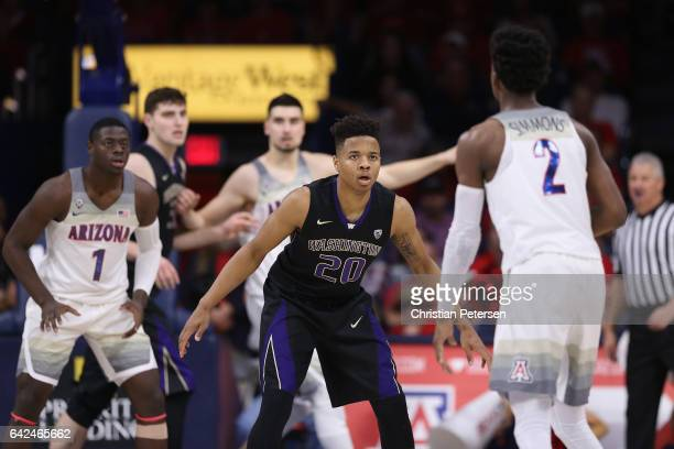 Markelle Fultz of the Washington Huskies on defense during the second half of the college basketball game against the Arizona Wildcats at McKale...