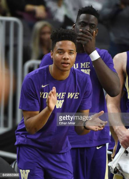Markelle Fultz of the Washington Huskies reacts on the bench during a firstround game of the Pac12 Basketball Tournament against the USC Trojans at...