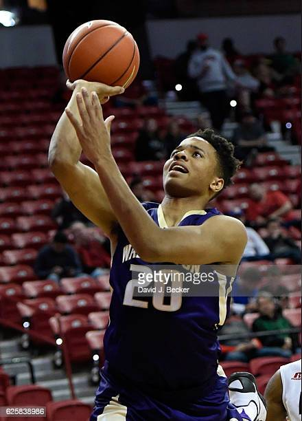 Markelle Fultz of the Washington Huskies shoots against the Western Kentucky Hilltoppers during the Global Sports Classic basketball tournament at...