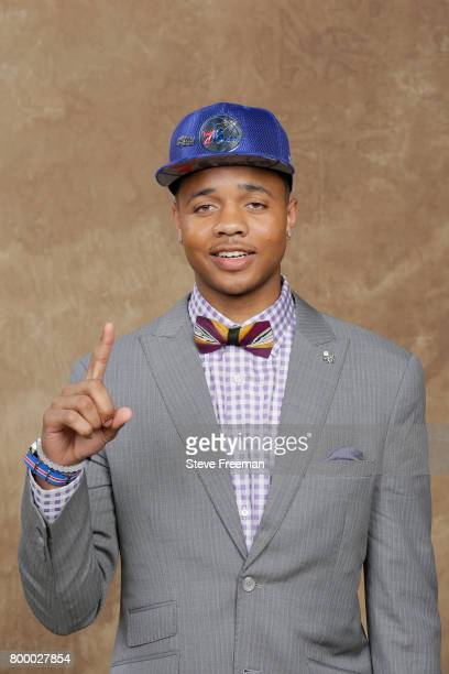 Markelle Fultz poses for a portrait after being drafted number one overall to the Philadelphia 76ers during the 2017 NBA Draft on June 22 2017 at...