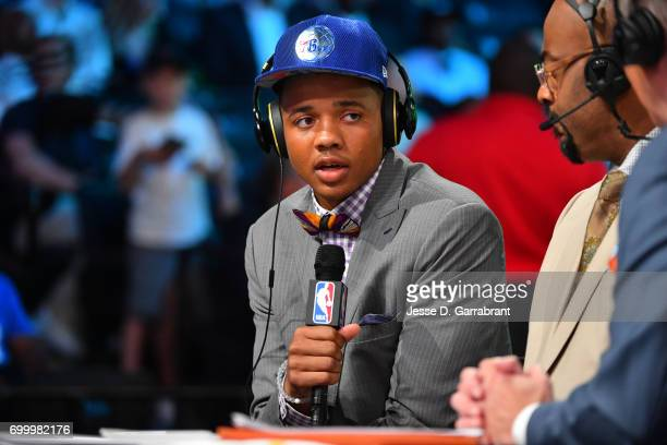 Markelle Fultz talks with the media after the Philadelphia 76ers select him as the number one pick of the 2017 NBA Draft on June 22 2017 at Barclays...