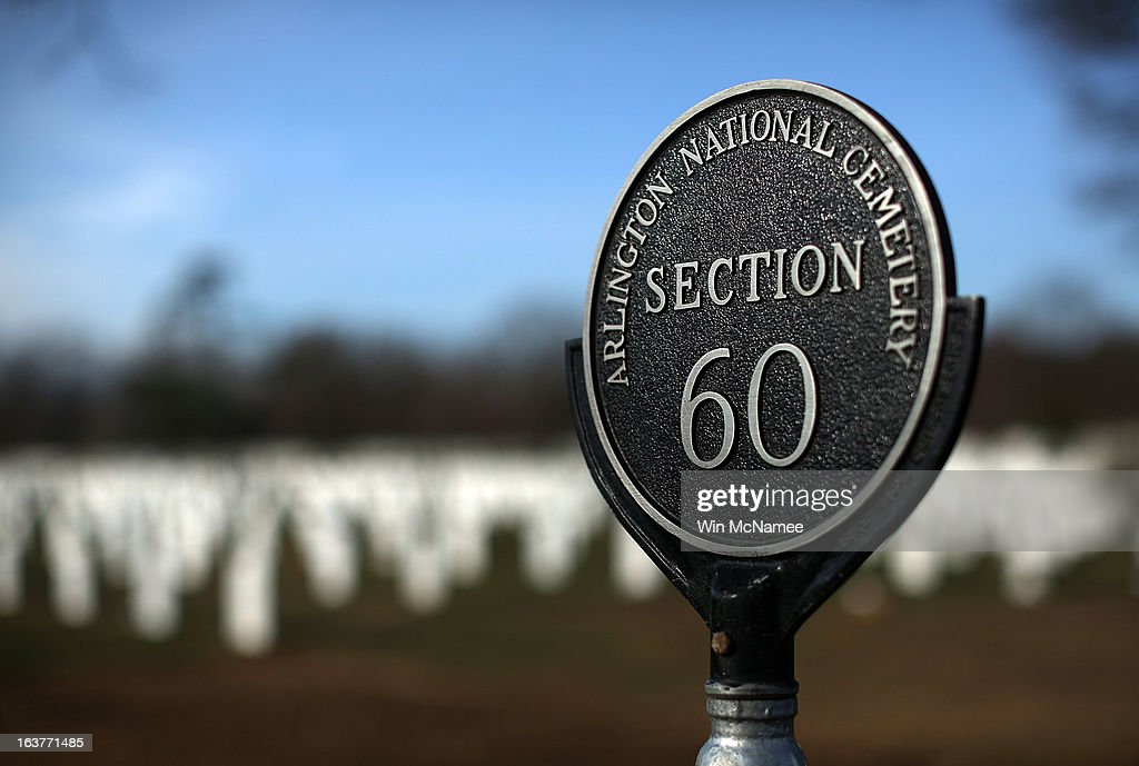 A marker designates Section 60 at Arlington National Cemetery March 15, 2013 in Arlington, Virginia. Section 60 is the section of the cemetery where American military members killed in Iraq and Afghanistan are currently laid to rest, though soldiers and Marines from World War II through Afghanistan are also buried in the section. March 20th marks the ten-year anniversary of the beginning of the war in Iraq.