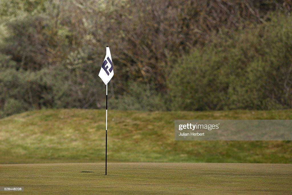 A marker flag flutters in the breeze during the PGA Professional Championship - West Qualifier at Burnham And Berrow Golf Club Club on May 5, 2016, in Burnham-On-Sea, England.