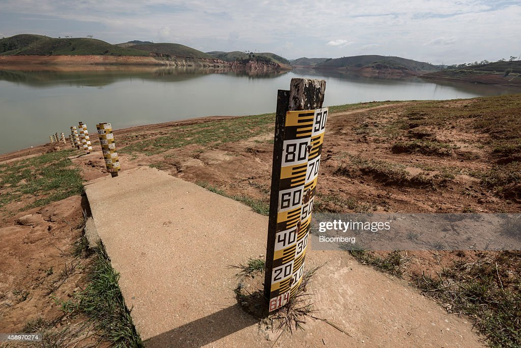 Markers that measure the water level stand at the Jaguari Reservoir near Sao Jose dos Campos in the state of Sao Paulo Brazil on Thursday Nov 13 2014...
