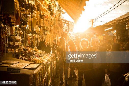 Market at sunset, Tel Aviv, Israel