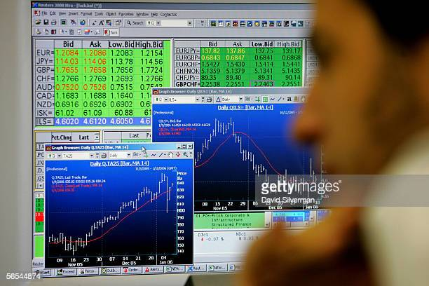 Market displays on a monitor show the latest international currency rates in green and fluctuations in the Israeli stock market as a broker keeps an...
