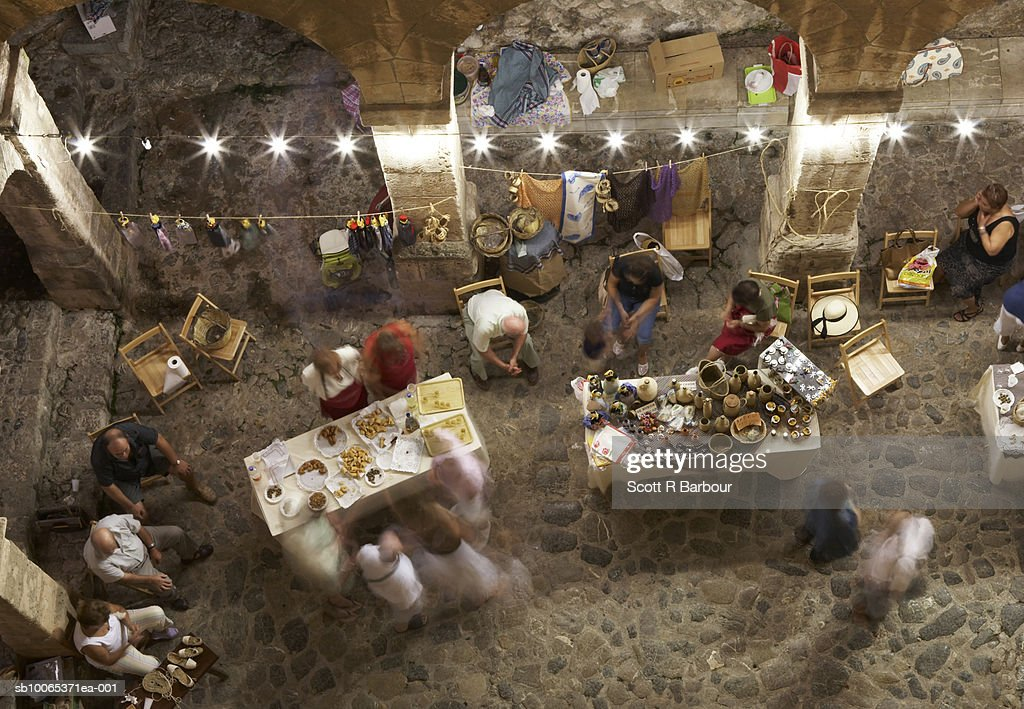 Market in D'Alt Vila, the old town in Ibiza City, Balearic Islands, Spain. : Stock Photo