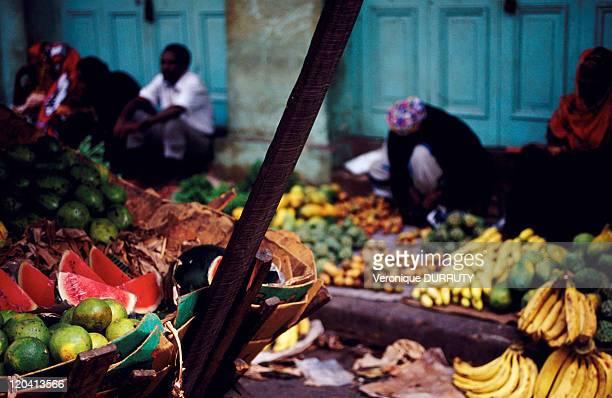 Market in Mombasa's old town in Kenya Africa