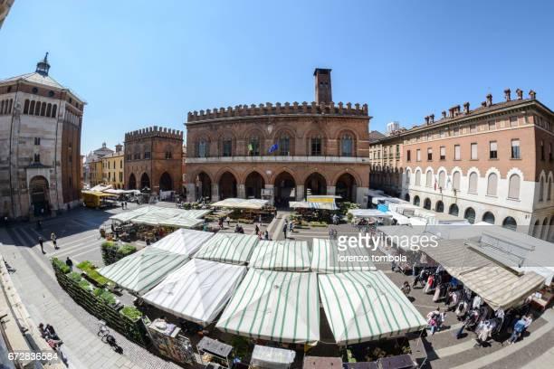 market in S. Antonio square in front of city Hall, Cremona