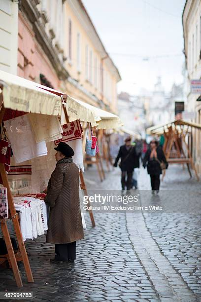 Market in the old town, Cluj, Romania