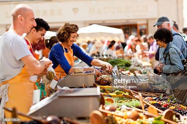 Market merchants selling fresh food