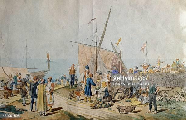Market Scene on the dock in Trieste Italy 18th century Trieste Museo Di Storia E Arte E Orto Lapidario