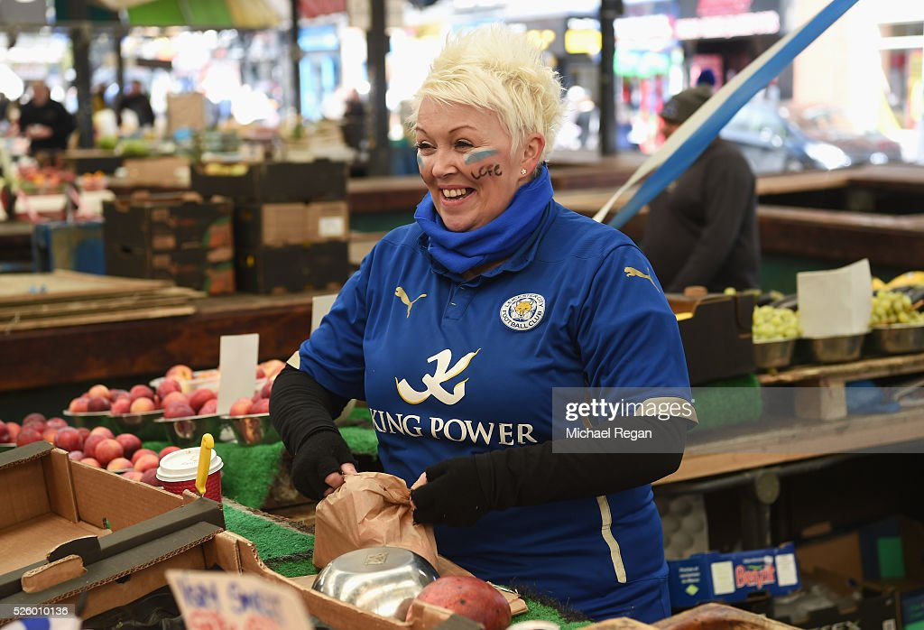A market seller shows her support for Leicester City on April 29, 2016 in Leicester, England.