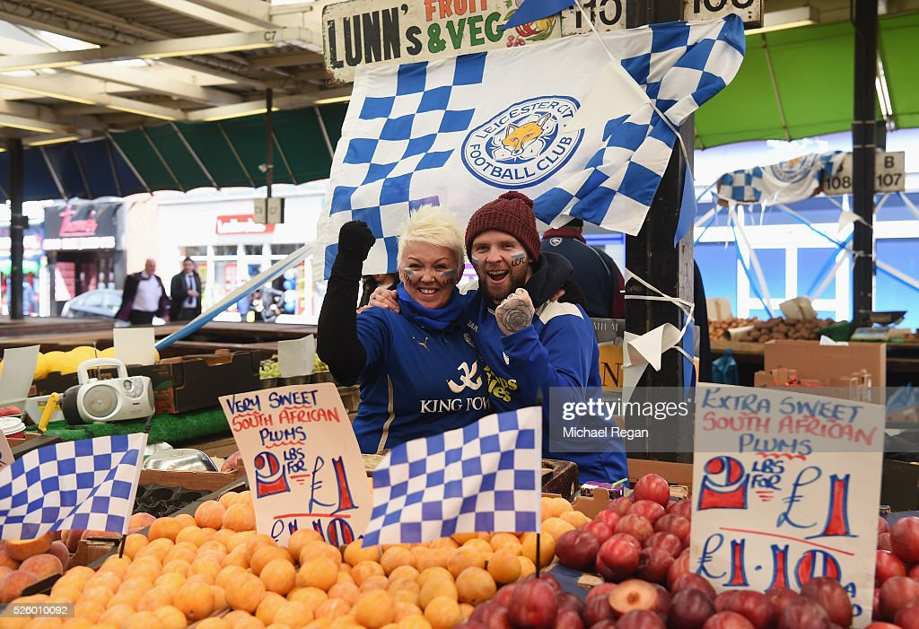 Market sellers show their support for Leicester City on April 29, 2016 in Leicester, England.