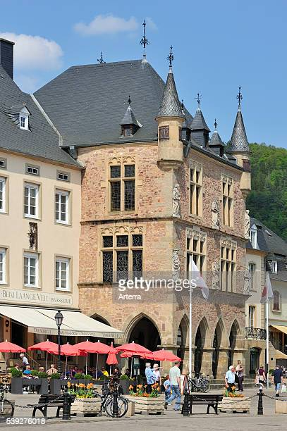 Market square and Denzelt medieval palace of justice at Echternach Luxembourg