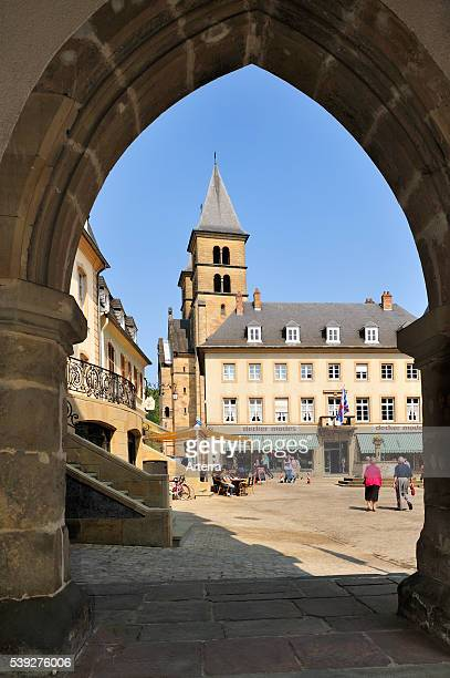 Market square and the basilica of Saint Willibrord seen from Denzelt medieval palace of justice at Echternach Luxembourg