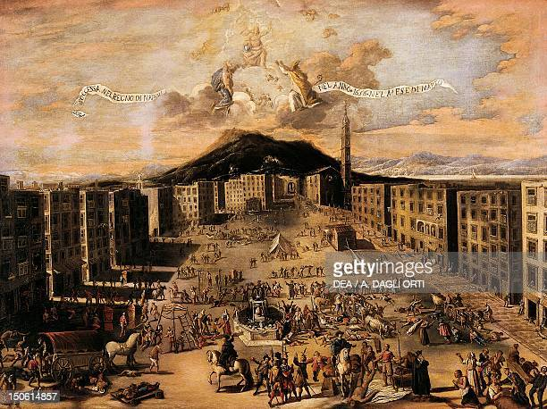 Market Square during the plague of 1656 Naples by Carlo Coppola oil on canvas 130x180 cm Italy 17th century