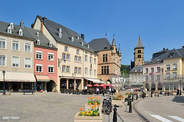 Market square with Denzelt medieval palace of justice at Echternach Luxembourg
